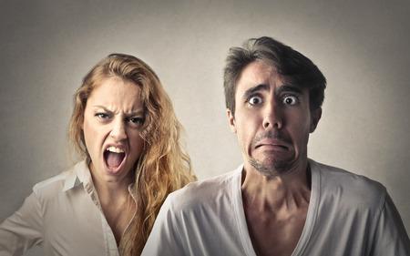 彼女のボーイ フレンドと一緒に怒っています。 写真素材