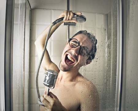 Singer in the shower Stock Photo
