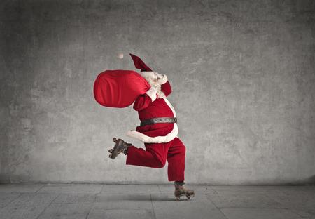 Skating Santa 스톡 콘텐츠