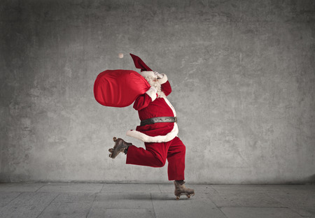 roller skates: Skating Santa Stock Photo