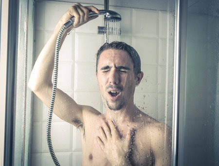 singing in the shower Stock Photo