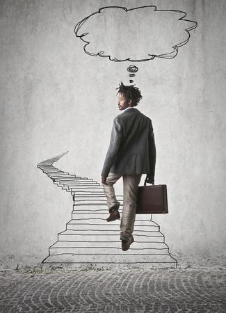 immagination: businessman walking down a long road