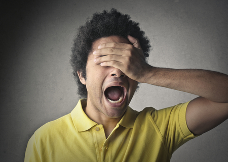 gaffe: Screaming boy Stock Photo