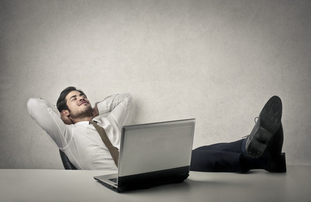 sleeping at desk: Relaxing from work Stock Photo