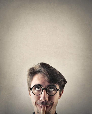 ironic: Confused man Stock Photo
