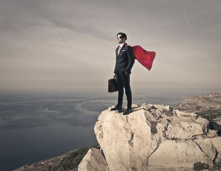 superhero: Businessman feeling himself a superhero Stock Photo