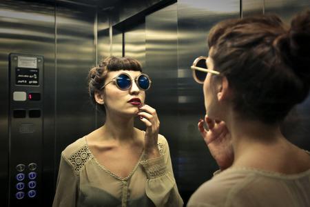 In de lift