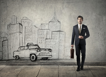taxi: Businessman going to work
