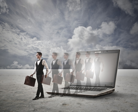 time machine: Out of a laptop Stock Photo