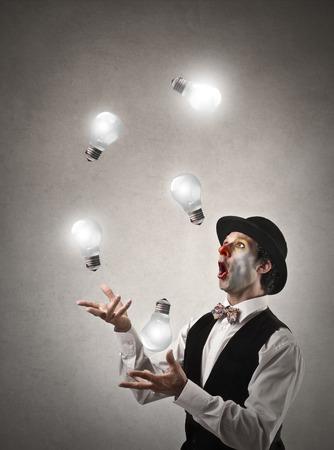 payaso: �Jugar con la luz Foto de archivo