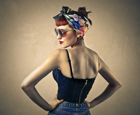 vintage woman: Pin up Stock Photo