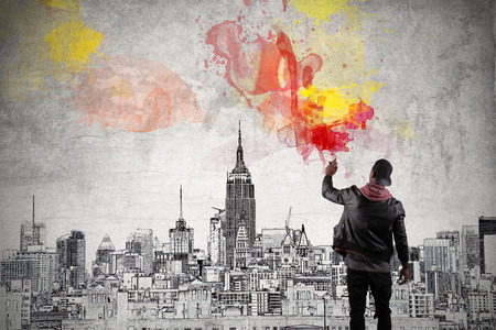 graffiti background: Colours over the city