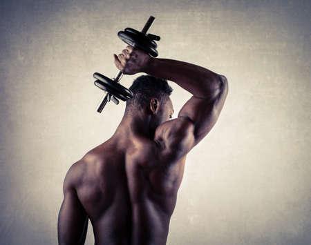 triceps: Muscular man