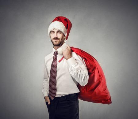 Santa Claus dressed like an employee photo