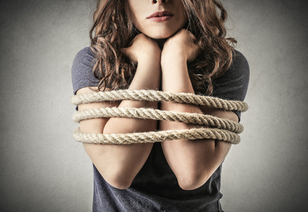 gagged: Trapped girl Stock Photo