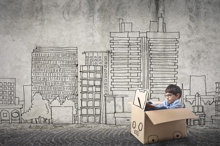 boceto: Niño que conduce su coche Foto de archivo