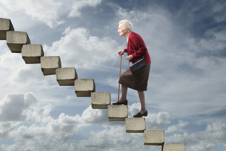 stairway: Elderly woman Stock Photo