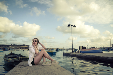 Waiting at the harbour photo