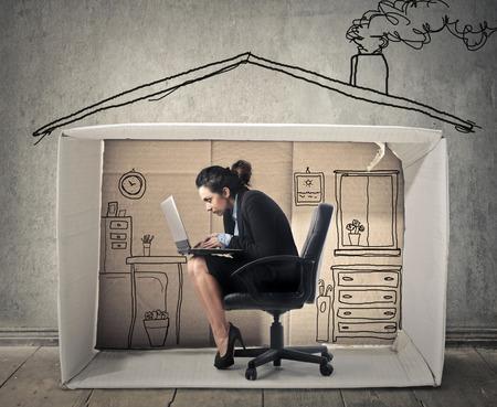 trabjando en casa: Trabajar desde casa Foto de archivo