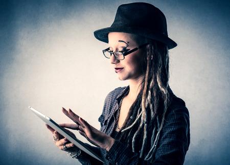 rasta hat: Using a tablet