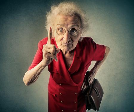 怒っているおばあちゃん 写真素材