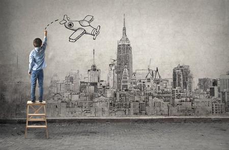 Vliegen over de stad