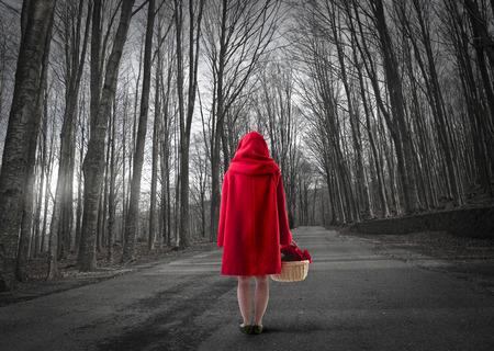 Czerwony Kapturek w lesie Zdjęcie Seryjne