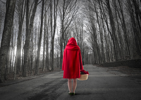 little red riding hood: Little Red Riding Hood in the woods