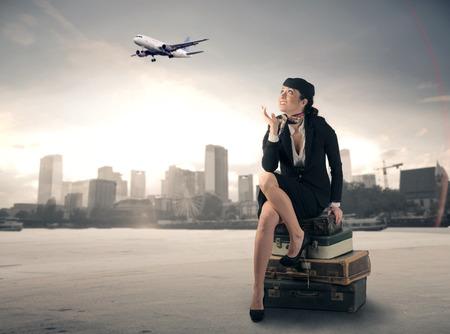 air hostess: Hôtesse attente Banque d'images