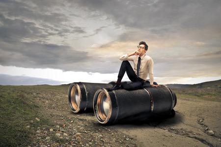 Giant binoculars Stock Photo