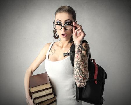 earing: Girl going to school Stock Photo