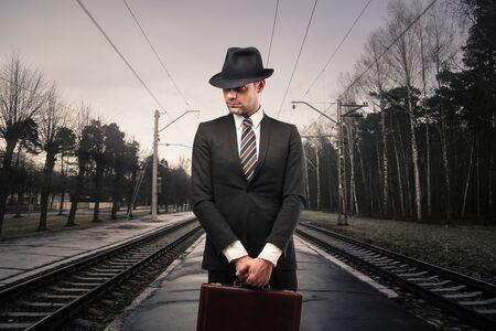 mystery man: Businessman waiting Stock Photo