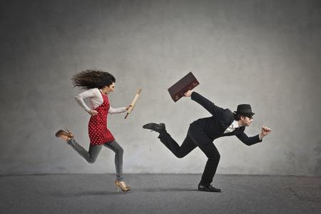 ironic: Running businessman Stock Photo