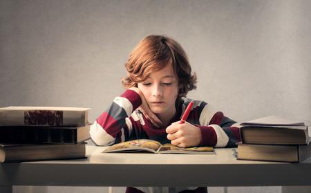 escuelas: Niño estudiando Foto de archivo