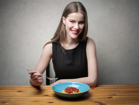 make dirty: Tasty pasta Stock Photo