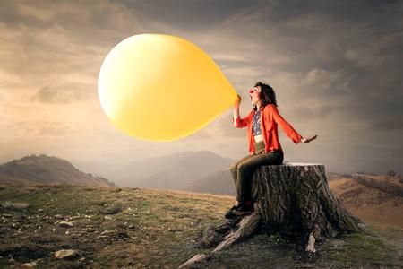 balloon: Yellow balloon Stock Photo