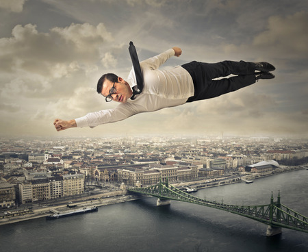 hero: Flying man Stock Photo