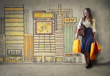 Shopping in einer Großstadt