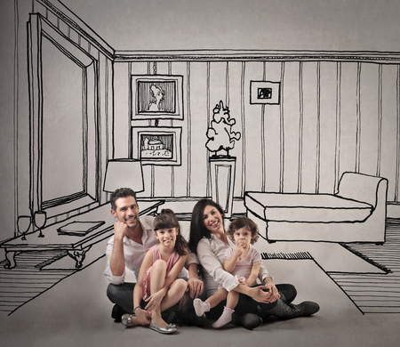 Happy family sitting in a living room