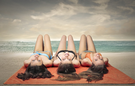 three girls: Three girls at the beach