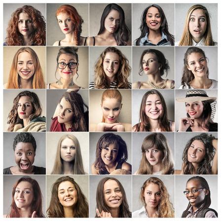 Portretten van verschillende vrouwen Stockfoto