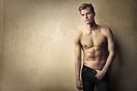 naked breast: Handsome man posing Stock Photo