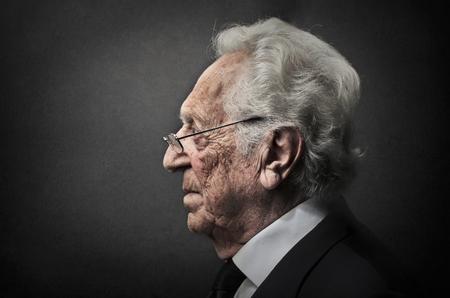 Elderly mans profile 写真素材