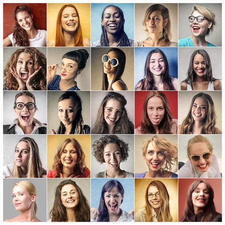 女性のカラフルな肖像画 写真素材