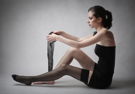 Young woman wearing stockings