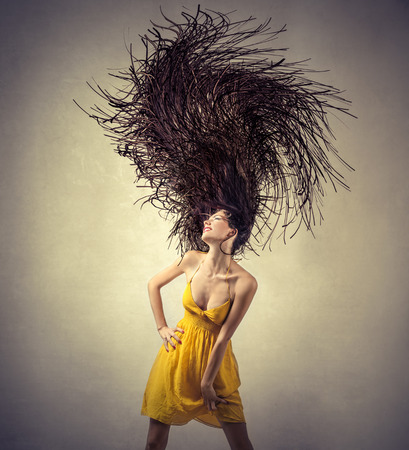 Long-haired brunette girl Stockfoto