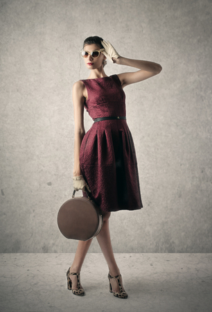 woman bag: Model wearing vintage clothes Stock Photo