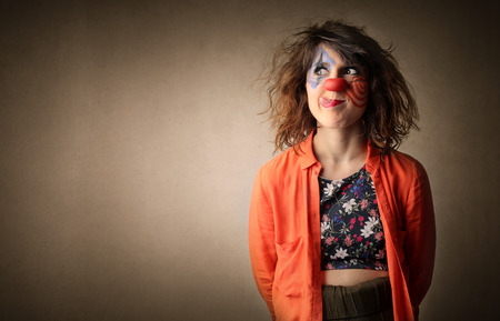animations: Woman Clown thinking of something Stock Photo