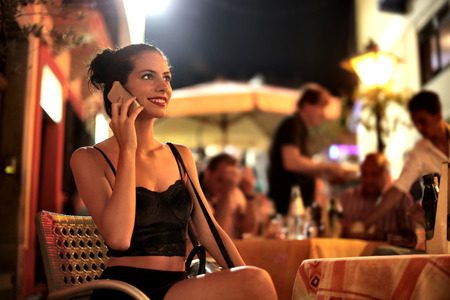 night out: Young woman spending the night out Stock Photo