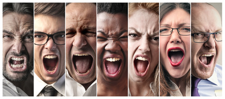 angry businessman: Screaming people